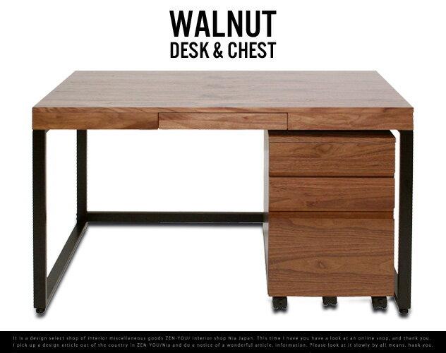 Walnut Desk Chest setウォールナット デスク チェスト 2点セットウォールナット ミッドセンチュリー PCデスク パソコンデスク 書斎 机 emo anthem エモ アンセムwood 木 ブラウン 引き出し付き