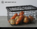 WIRE BASKET WITH LID / ワイヤー バスケット ウィズ リッドPUEBCO / プエブコ 蓋付き スチール 収納 カゴ かご