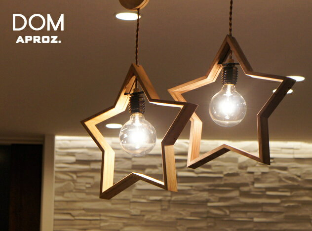 DOM /ドム APROZ / アプロス星型照明 100W 日本製 ペンダントライト 照明 ダイニング 木 無垢 AZP-566-BR/NA