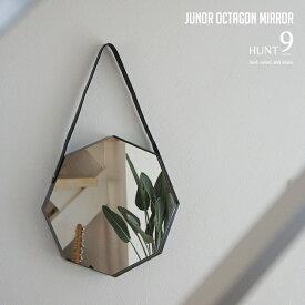 JUNOR OCTAGON MIRROR / 八角形 壁掛け ミラー HUNT9 / ハントナイン 直径32.5cm ミラー 鏡 壁掛け 8角形 風水 レザーストラップ スチール