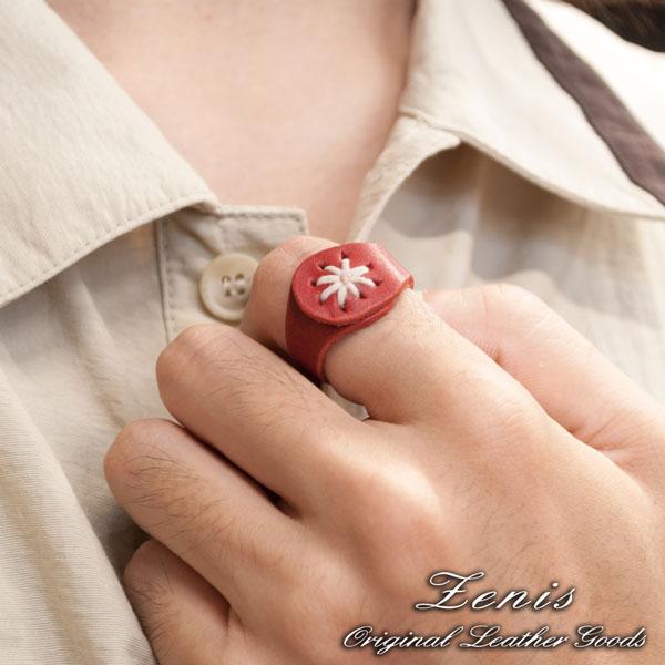 モデル画像Zenis(ゼニス)ナチュラルレザー本革リング,指輪です男女共に使えてシンプルなデザインが好評です