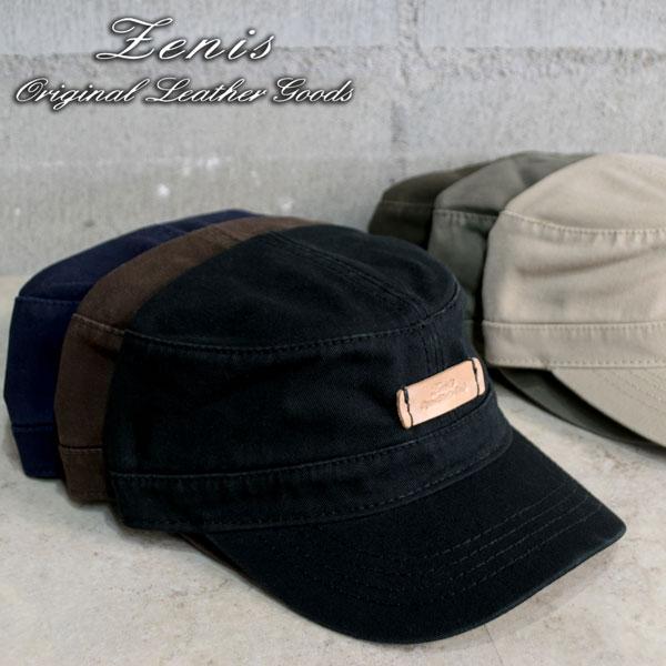 CAP キャップ 帽子 コットンキャップ ワークキャップ 帽子 本革 ワンポイント Zenis ゼニス W-0801【送料無料】【あす楽】