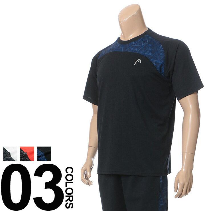 大きいサイズ メンズ HEAD (ヘッド) 抗菌消臭 吸水速乾 ロゴ 配色切り替え メッシュ クルーネック 半袖 Tシャツ BIG SIZE カジュアル トップス スポーツ ティーシャツ 再帰反射 メッシュTシャツ