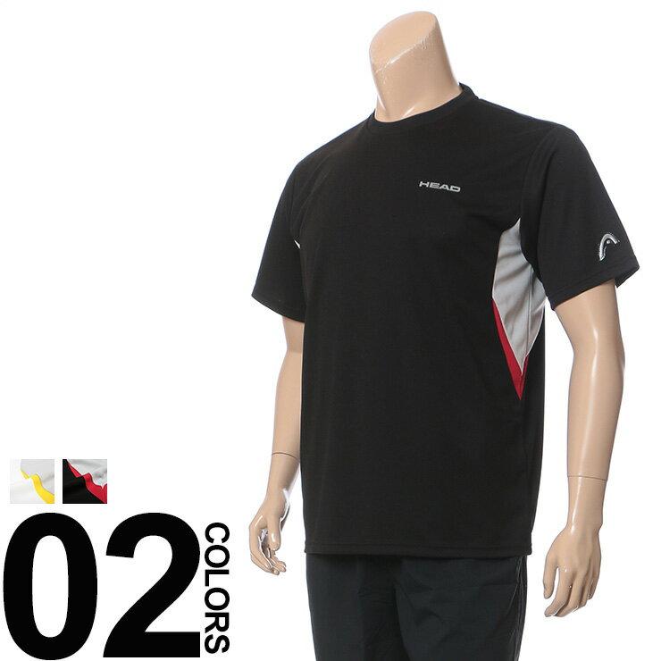 大きいサイズ メンズ HEAD (ヘッド) 抗菌消臭 吸水速乾 メッシュ 袖ロゴ 配色切り替え クルーネック 半袖 Tシャツ BIG SIZE カジュアル トップス スポーツ ティーシャツ 配色 再帰反射 楽天カード分割 05P03Dec16