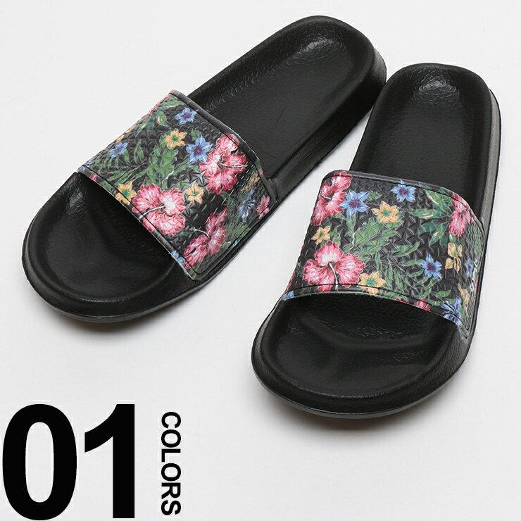 大きいサイズ メンズ SLYDES (スライデス) ロゴ ボタニカル総柄 シャワーサンダル メンズ BIG SIZE サンダル 靴 軽い 花柄 ジャングル リゾート