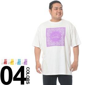 大きいサイズ メンズ SR'ES RAINBOW おそ松さん バンダナ柄プリント クルーネック 半袖 Tシャツ