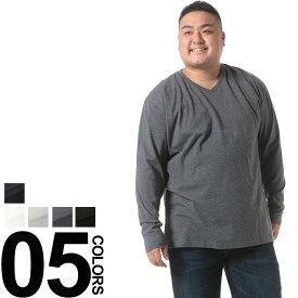 大きいサイズ メンズ B&T CLUB (ビーアンドティークラブ) 綿100% 天竺編み 無地 Vネック 長袖 Tシャツ BIG SIZE カジュアル トップス シンプル ティーシャツ 天竺 オールシーズン