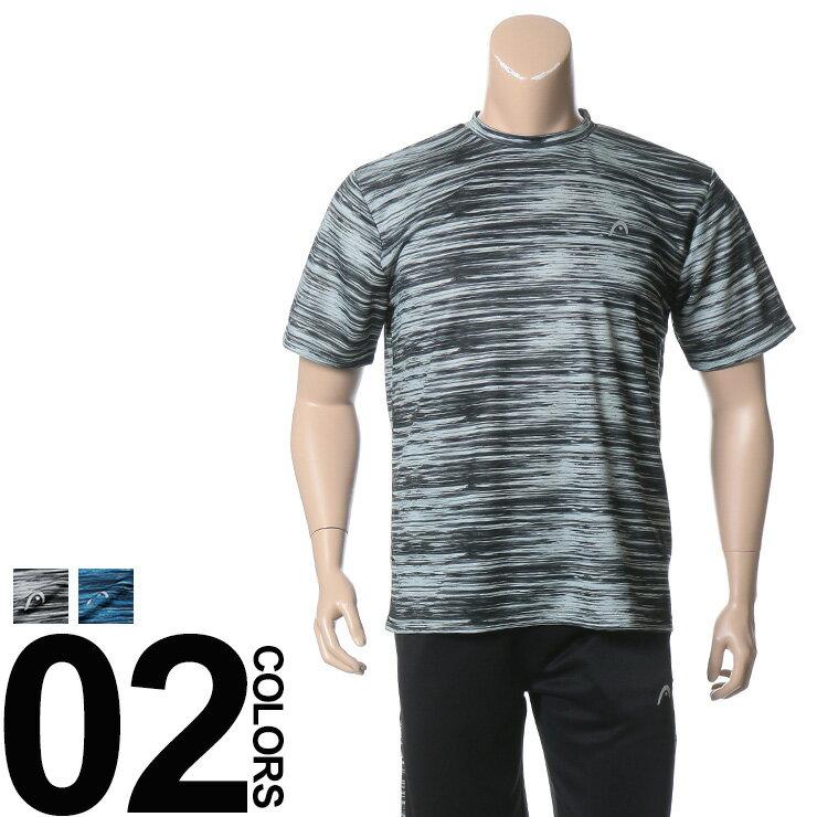 大きいサイズ メンズ HEAD (ヘッド) 再帰反射 抗菌防臭 吸水速乾 総柄 クルーネック 半袖 Tシャツ BIG SIZE カジュアル トップス ティーシャツ 機能性 スポーツ