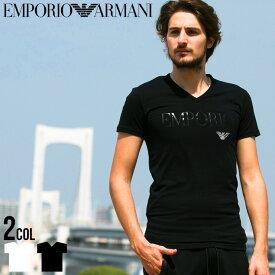 アルマーニ tシャツ エンポリオアルマーニ EMPORIO ARMANI ロゴ Vネック 半袖 Tシャツ Tシャツ ブランド メンズ ストレッチ EA110810CC716 SALE_1_a