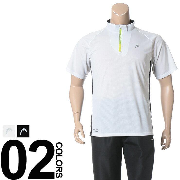 大きいサイズ メンズ HEAD (ヘッド) 再帰反射 抗菌防臭 吸水速乾 胸ロゴ ハーフジップ 半袖 シャツ BIG SIZE カジュアル トップス スポーツ 機能性 ジップシャツ