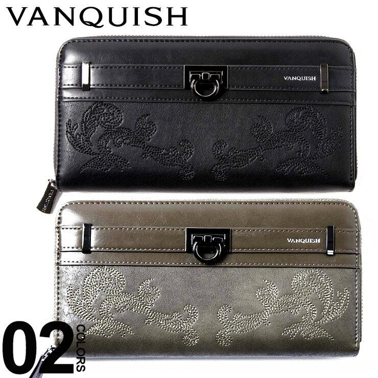 ヴァンキッシュ VANQUISH 財布 長財布 ウォレット ラウンドジップ 刺繍入り ブランド メンズ VQM40220 【endsale_18】