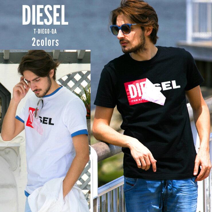 500円OFFクーポン対象 ディーゼル DIESEL Tシャツ 半袖 ボックスロゴ めくりデザイン プリント ブランド メンズ DSS02X091B