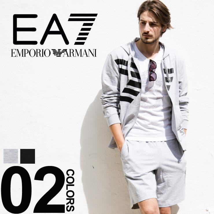 エンポリオアルマーニ EMPORIO ARMANI EA7 セットアップ スウェット パーカー ショートパンツ ロゴプリントブランド メンズ 上下セット EA3ZPM18PJ05Z
