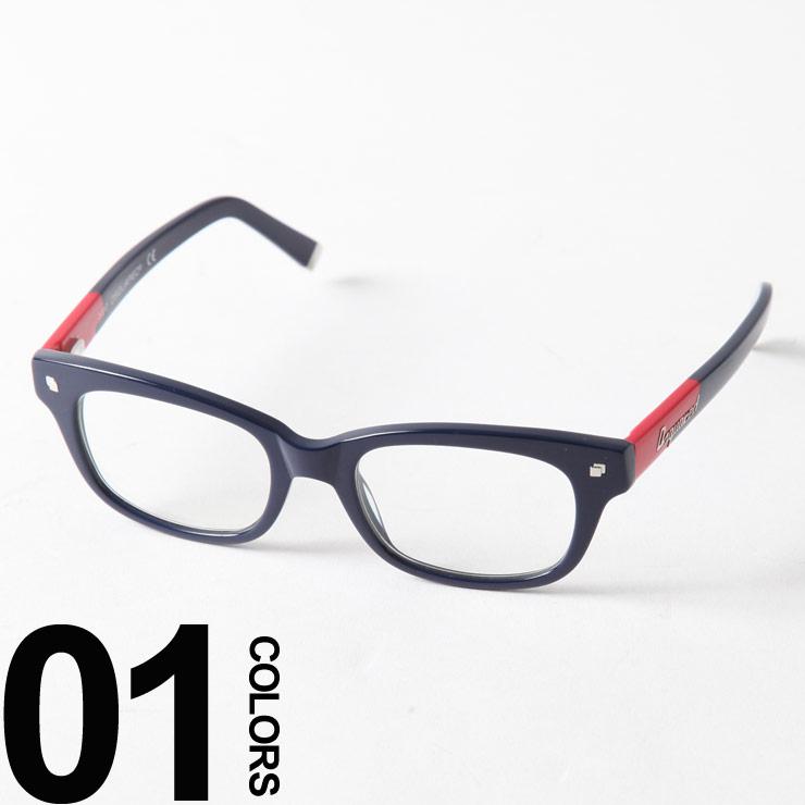 ディースクエアード DSQUARED2 伊達メガネ レッド バイカラー ロゴ スクエア ブランド メンズ アイウェア D25068090