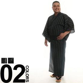 大きいサイズ メンズ SAKAZEN しじら織り 帯付き 浴衣 2点セット [3L-5L]