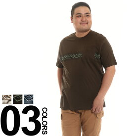 大きいサイズ メンズ NICOLE MORRISON (ニコルモリソン) 抗菌 パネルプリント ポケット クルーネック 半袖 Tシャツ [3L-6L]