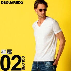 ディースクエアード DSQUARED2 Tシャツ 半袖 ストレッチ ロゴ プリント Vネック ブランド メンズ トップス カットソー D2DCM450030 SALE_1_a