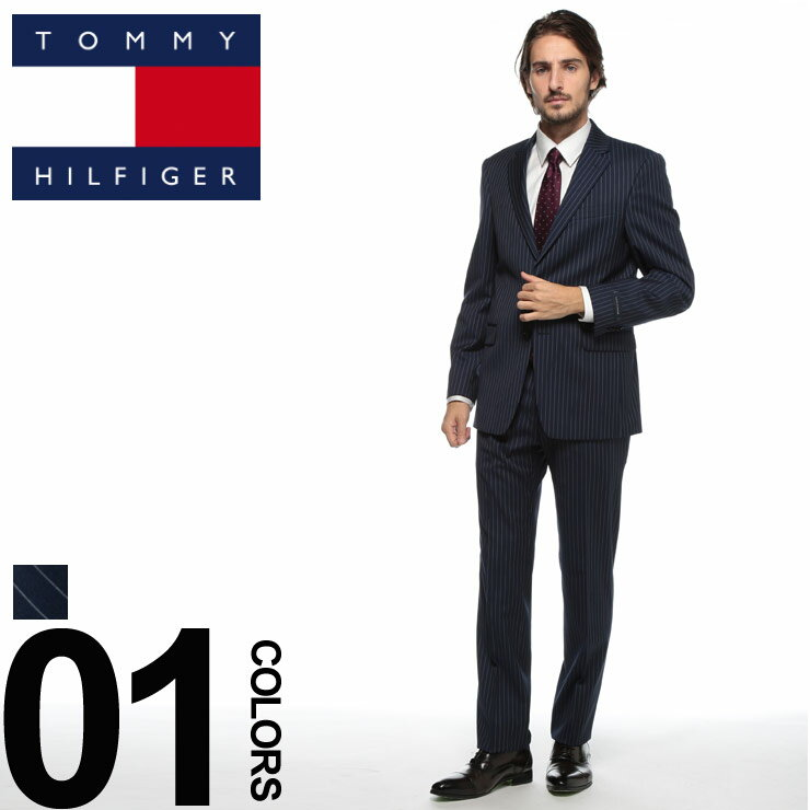 トミーヒルフィガー TOMMY HILFIGER スーツ ストレッチ ストライプ シングル 2ツ釦 2B ブランド メンズ ビジネス ウール ノータック サイドベンツ TMASB0046