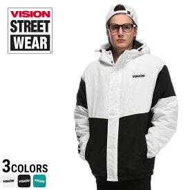 VISION ヴィジョン 中綿ブルゾン ジャケット ナイロン 配色切り替え フルジップメンズ カジュアル 男性 ファッション トップス アウター フード 切り替え ロゴプリント 8723106I