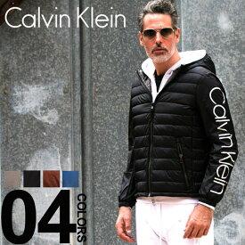 完全処分最終価格 カルバン クライン Calvin Klein CK ナイロンジャケット 中綿 袖ロゴ パーカー フード ブルゾン ブランド メンズ アウター 袖切り替え CKCM813250