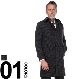 SARTORIA DEL GROSSO (サルトリアデルグロッソ) British Wool チェック柄 シングル コートメンズ 紳士 男性 ビジネス カジュアル アウター ウール スタンカラー 柄物 秋冬 6004886B18A24