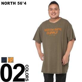 大きいサイズ メンズ NORTH 56°4 (ノース 56°4) サガラロゴ クルーネック 半袖 Tシャツ カジュアル トップス シャツ コットン ロゴ 春夏 83150BUS