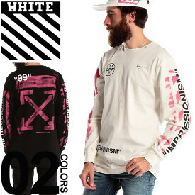 OFF-WHITE オフホワイト Tシャツ 長袖 ステンシル プリント ロンT DIAG STENCIL ブランド メンズ トップス ロンT ロゴ バックプリント OWAB01R19185015
