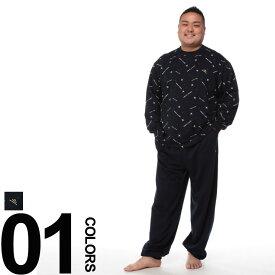 大きいサイズ メンズ arnold palmer timeless (アーノルド パーマー タイムレス) ミニ裏毛 総柄 長袖Tシャツ ロングパンツ パジャマ カジュアル 部屋着 上下セット ルームウェア ソフティーゴム BT219139H