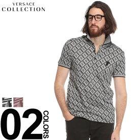 ヴェルサーチ コレクション VERSACE COLLECTION ポロシャツ 半袖 ロゴ 総柄 ブランド メンズ トップス コットン VC800543VJ00579