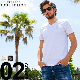 ヴェルサーチ コレクション VERSACE COLLECTION Tシャツ 半袖 Vネック ロゴ ブランド メンズ トップス コットン VCV800490RVJ180