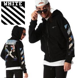 オフホワイト OFF-WHITE パーカー スウェット バックプリント フルジップ DIAG COLORED ARROW ブランド メンズ トップス フード スエット OWBE01R19003012
