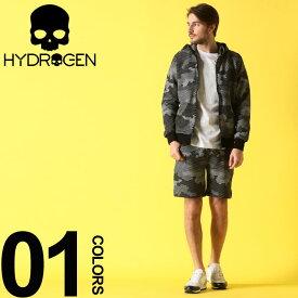 ハイドロゲン HYDROGEN セットアップ スウェット カモフラージュ 迷彩 パーカー ショートパンツ ブランド メンズ 上下セット ショーツ スエット HY240606SETUP