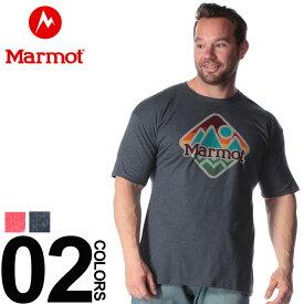 大きいサイズ メンズ Marmot (マーモット) BIGロゴプリント クルーネック 半袖 Tシャツ カジュアル トップス シャツ プリント コットン 春夏 44240