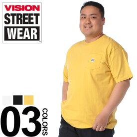大きいサイズ メンズ VISION (ヴィジョン) USAコットン ポケット付き クルーネック 半袖 Tシャツ カジュアル トップス シャツ シンプル 無地 コットン 春夏 9504106
