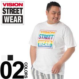 大きいサイズ メンズ VISION (ヴィジョン) 綿100% マグロゴ クルーネック 半袖 Tシャツ カジュアル トップス シャツ プリント コットン 春夏 9504107