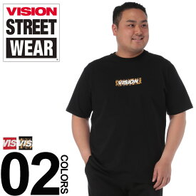 大きいサイズ メンズ VISION (ヴィジョン) 綿100% BOXロゴ クルーネック 半袖 Tシャツ カジュアル トップス シャツ プリント 刺繍 アニマル シンプル 9504108