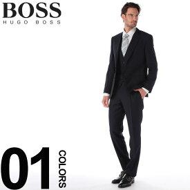 ヒューゴ ボス HUGO BOSS スーツ 3P ウール シングル 2B 2ツ釦 スリーピース 格子 ブランド メンズ ビジネス 3Pスーツ ベスト ジレ ノータック HBHG10215492WE