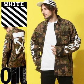 オフホワイト OFF-WHITE フィールドジャケット 迷彩 カバーオール バックプリント 袖プリント DIAG CAMOU ブランド メンズ アウター カモフラ ミリタリー OWEL06S19A66024