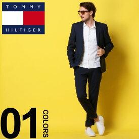 トミーヒルフィガー スーツ TOMMY HILFIGER リネン ストレッチ シングル 2ツ釦 ノータック 麻スーツ ブランド メンズ ストレッチ テーラード TMASM0001