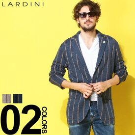 ラルディーニ ジャケット LARDINI ブートニエール 麻100% ストライプ シングル リネンニット 麻ジャケット ブランド メンズ リネン テーラード LDLJM56EG52009