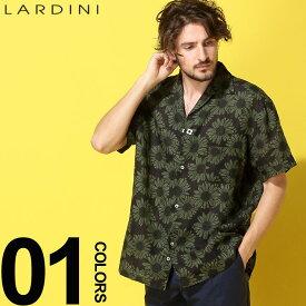 ラルディーニ LARDINI シャツ 半袖 麻100% オープンカラー フラワー ブランド メンズ トップス シャツ 柄シャツ 開襟 麻シャツ リネン LDGIANEGC1043