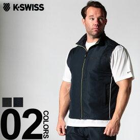 大きいサイズ メンズ K-SWISS (ケースイス) 吸汗速乾 アンサンブル フルジップベスト 半袖Tシャツ カジュアル トップス 2点セット スポーツ トレーニング 消臭 K2950K