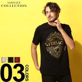 ヴェルサーチ コレクション VERSACE COLLECTION ヴェルサーチェ Tシャツ 半袖 ロゴ クルーネック エンブレム ブランド メンズ トップス プリント VCV800683RVJ610