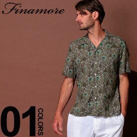 フィナモレ Finamore シャツ 半袖 綿麻 オープンカラー パームツリー ブランド メンズ トップス 麻シャツ 柄シャツ 開襟 リネン FIP9118BARTI