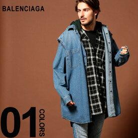 バレンシアガ BALENCIAGA シャツ 長袖 チェック デニム パーカー レイヤード デニムシャツ TWIN SET HOODIE ブランド メンズ BC557356TAP20