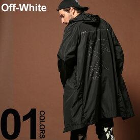 オフホワイト OFF-WHITE ナイロンコート バックプリント ロゴ レインコート UNFINISHED ブランド メンズ アウター ナイロン フード パーカー OWEA171E19E0600