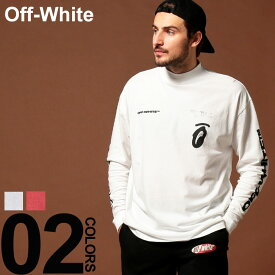 オフホワイト OFF-WHITE Tシャツ 長袖 ロンT バックプリント モックネック SPLITTED ARROWS ブランド メンズ トップス 袖プリント OWAB32E19185010 SALE_1_b
