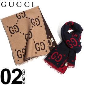 グッチ GUCCI マフラー シルク混 GGパターン ロゴ ビッグロゴ ブランド メンズ レディース ウール GC4955924G350