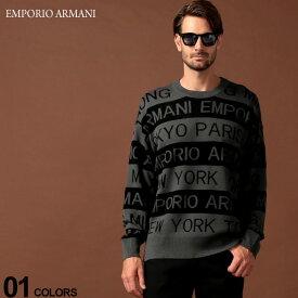 エンポリオ アルマーニ EMPORIO ARMANI ニット セーター ロゴ ボーダー クルーネック ブランド メンズ トップス 長袖 EA6G1MYF1MZPZ