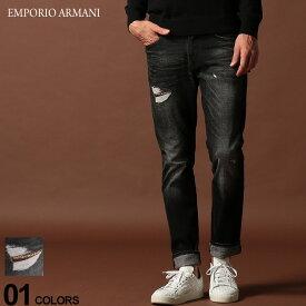 エンポリオ アルマーニ EMPORIO ARMANI デニムパンツ ダメージ ロゴ ジップフライ ジーンズ SLIM BLACK ブランド メンズ ジーパン デニム スリム EA6G1J061D6YZ